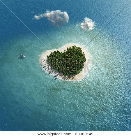 heart-shaped tropical island