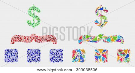 Dollar Aggregation Collage Icon Of Triangle Elements Which Have Different Sizes And Shapes And Color
