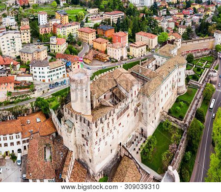 Buonconsiglio Castle Or Castello Del Buonconsiglio Aerial View. Buonconsiglio Is A Castle In Trento