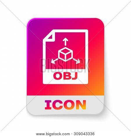 White Obj File Document Icon. Download Obj Button Icon Isolated On White Background. Obj File Symbol