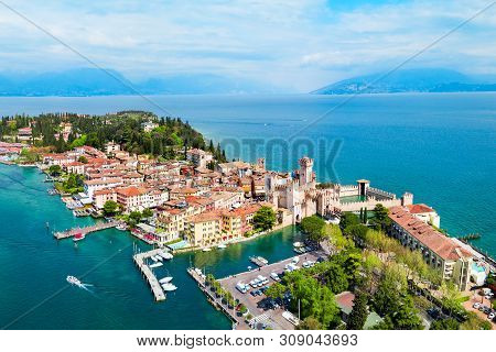 Scaligero Castle Aerial Panoramic View. Scaligero Castle Is A Fortress In The Historical Center Of S