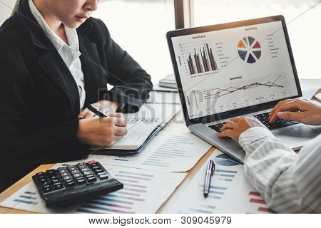 Business Team Meeting Strategy Planning With New Startup Project Plan Finance And Economy Graph With