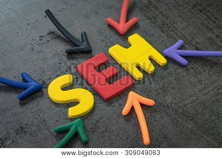 Sem Search Engine Marketing, Bidding On Search Result Page To Promote Website Online, Multi Color Ar