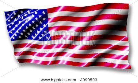 Usa Shiny Flag Waving