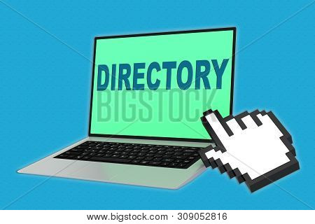 3d Illustration Of Directory Script With Pointing Hand Icon Pointing At The Laptop Screen
