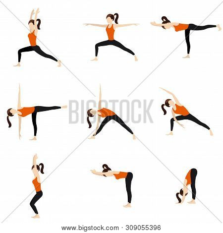 Illustration Stylized Woman Practicing Standing Yoga Postures