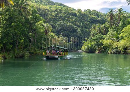 Bohol, Philippines - June, 20, 2019: Floating Buffet Reastaurant Cruise On Loboc River