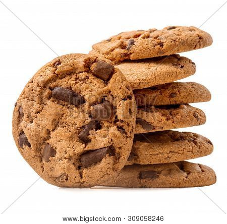 Chocolate Chip Cookies Isolated On White Background. Cocoa Butter Cookies Close Up
