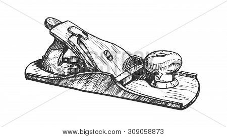 Jack-plane Hand Industry Instrument Closeup Vector. Jack-plane Equipment For Wood Processing And Man