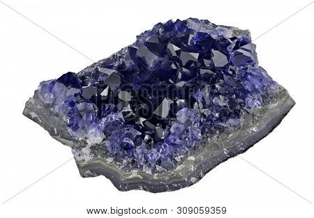 macro photo of  blue sapphire druse isolated on white background