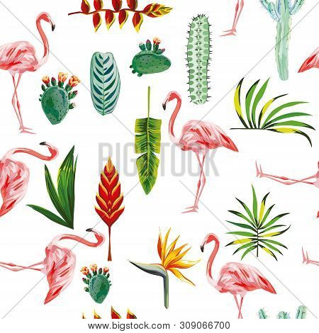 Systematic Ordered Tropical Green Leaves, Flowers, Cactus And Pink Flamingo On White Background. Sea