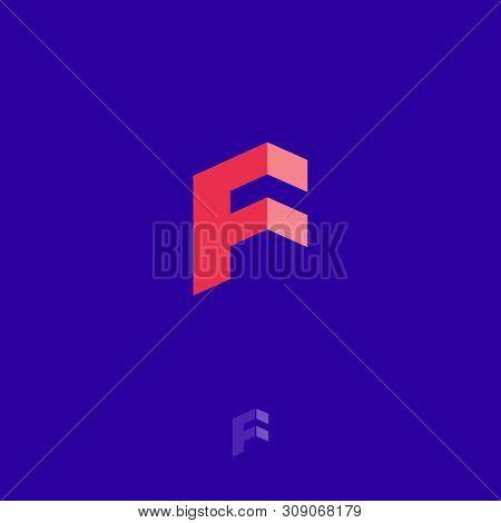 F Letters Geometric Logo. F Cube Monogram. Construction Logo. Construction Or Building Logo. 3d Imit