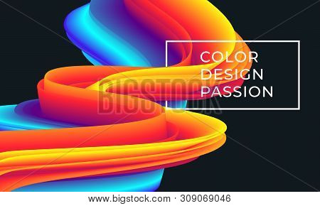 Colorful Wave Flow Pattern. Background With Liquid Color Lines.