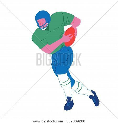 American Football Player. Quarterback Runs With Ball. Vector Flat Illustration. Avatar, The People I