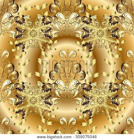 Vector - Stock. Yellow And Beige On Colors. Nice Background. Doodles Cute Pattern. Seamless Beautifu