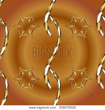 Tender Fabric Pattern. Brown And Beige On Colors. Seamless Abstract Interesting Background. Vector.