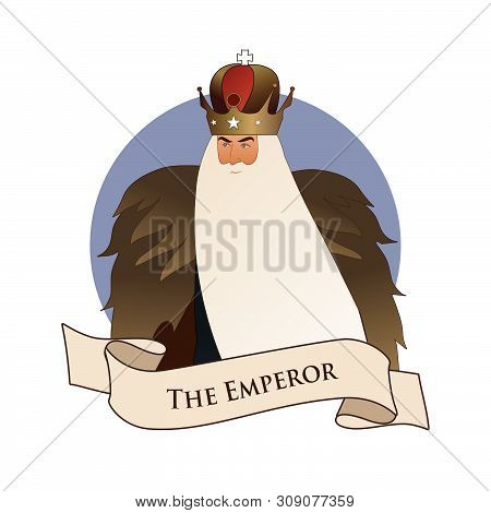 Major Arcana Emblem Tarot Card. The Emperor. Man With Crown And Long White Beard And Fur Cape, Isola