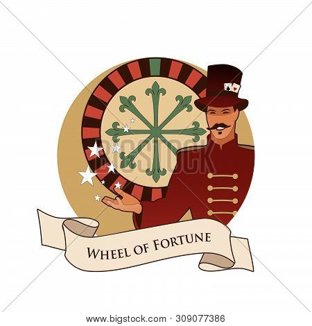 Major Arcana Emblem Tarot Card. The Wheel Of Fortune. Master Of Ceremonies With Mustache, Wearing To