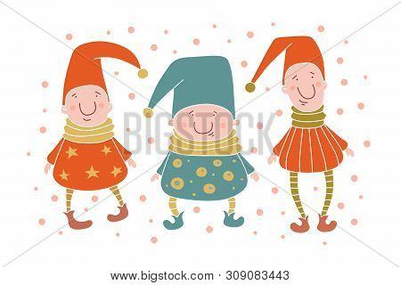 Three young funny gnome in caps. Funny elves. Fairy-tale characters can be used for children`s interior design, clothing and books. Cartoon vector illustration on white isolated background. poster