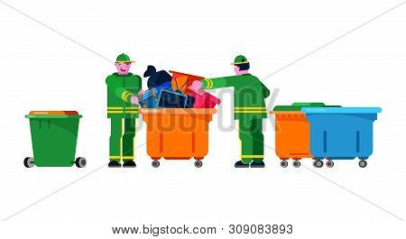 Janitor Wiper Yardman People Sorting Trash Can Vector Bin Recycle Electronic Waste Garbage Illustrat