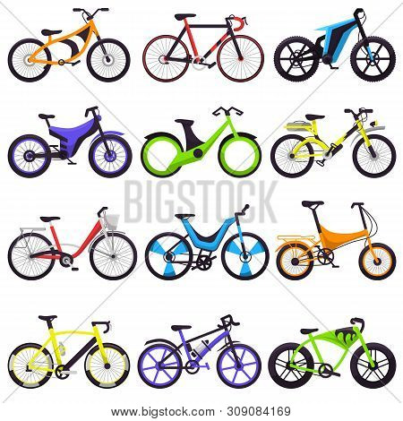 Bicycle vector bikers cycle biking transport with wheels and pedals illustration bicycling set of bicyclist cycling sport transportation isolated on white background poster