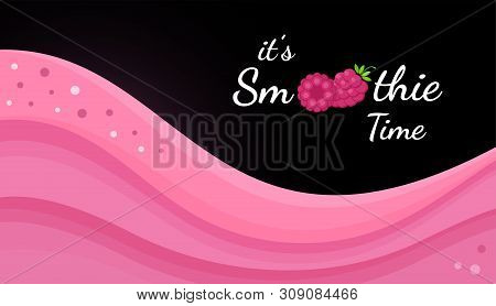 Red Raspberry Smoothie Vitamin Drink Vector Illustration. Berry Smoothie Logo On Black Background, R