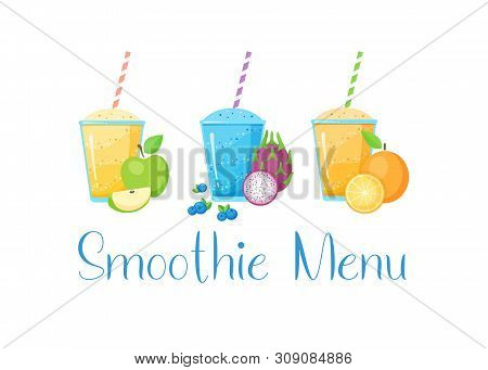 Set Of Fruit Smoothie Cocktail Vector Illustration. Fresh Smoothies Drink With Colorful Layers In Gl