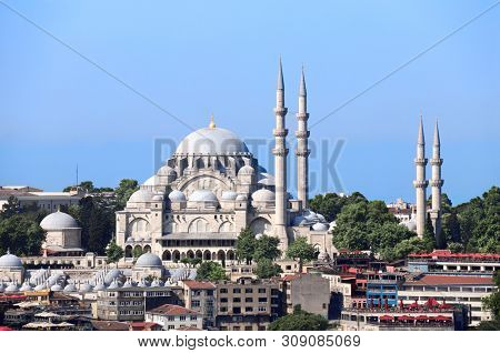 Suleymaniye Mosque and mausoleum of  Suleiman the Magnificent (Great Suleiman) and his beloved wife Hurrem Haseki Sultan (Roksolana), Ottoman imperial mosque in Istanbul, Turkey