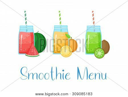 Set Of Smoothie Banner Vitamin Drink Vector Illustration. Fresh Vegetarian Smoothies Drink With Colo