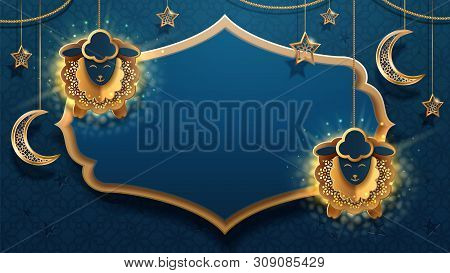 Sheeps on chains and crescent, Eid al-Adha muslim calligraphy. Ul-adha holiday or Festival of Sacrifice greeting card with moon and stars. Idul Adha festive. Quran celebration and arab religious sign poster