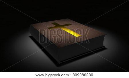 Spiritual art. Holy Bible with golden cross. 3D rendering