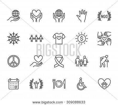 Charity Flat Line Icons Set. Donation, Nonprofit Organization, Ngo, Giving Help Vector Illustrations