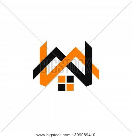 Letter Mw Linked Home Shape Logo Vector