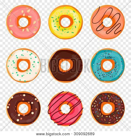 Donut With Sprinkles And Chocolate Isolated On Transparent Background. Doughnut Into Glaze In Flaat