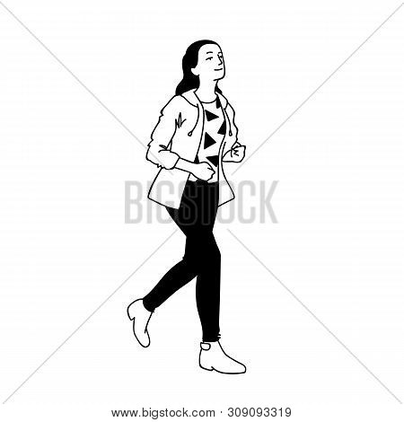 Teenage Girl In Streetwear Running Hurriedly. Concept. Monochrome Vector Illustration Of Cute Girl W