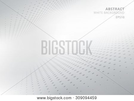 Elegant Abstract White And Gray Gradient Perspective Background With Curved And Halftone Style. Mode