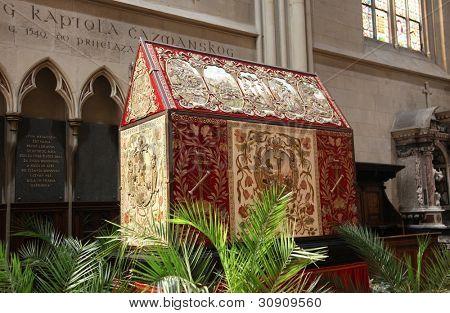 ZAGREB, CROATIA - 10 APRIL: Tomb of God exhibited on Good Friday, prepared to veneration at the Zagreb Cathedral, 10 April 2009 in Zagreb, Croatia.