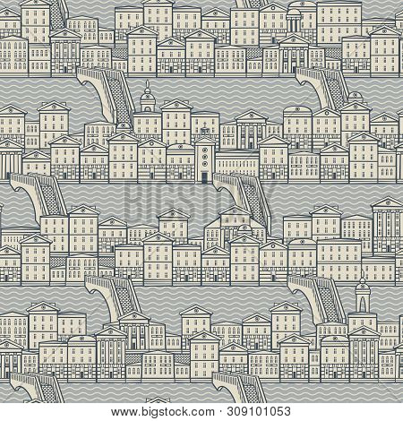 Vector Seamless Pattern With Old Hand Drawn Houses Along The Canals With Bridges. Cityscape Backgrou