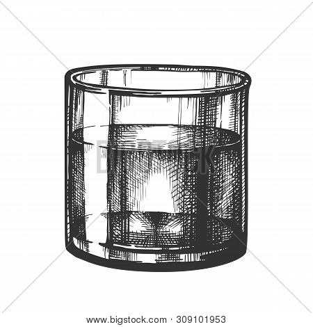 Hand Drawn Glass Fresh Healthy Purity Water . Design Standing Smooth Glass With Clear Liquid. Black