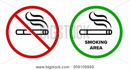 Smoking Area And No Smoking Vector Icons. Cigarette Smokers Zone, Smoking Permitted And Forbidden Lo