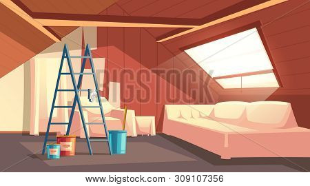 Vector Concept Of Attic Repair. Renovation Of Wooden Room Under A Roof. Furniture Under A Protective