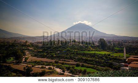 Panoramic View To Misti Mountain And Arequipa City From Yanahuara Viewpoint In Arequipa, Peru