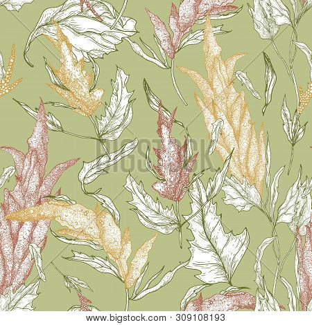 Floral Seamless Pattern With Quinoa Plants Hand Drawn With Colorful Contour Lines On Green Backgroun