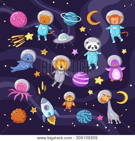 Space Animals. Cute Baby Animal Panda Cat Lion Giraffe Monkey Octopus Penguin Astronauts Flying Kid