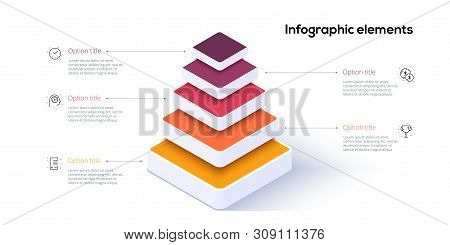 Business Pyramid Chart Infographics With 5 Steps. Pyramidal Stages Graph Elements. Company Hiararchy