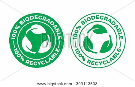 Biodegradable Recyclable Vector Icon. 100 Percent Bio Recyclable And Degradable Package Packet Logo