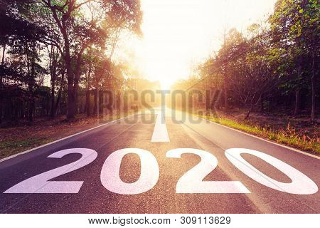 New Year Concept : Empty Asphalt Road Sunset And New Year 2020.