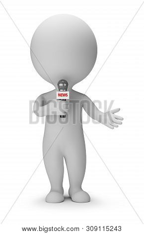 3d Small People - News Presenter With Microphone In Hand. 3d Image. White Background.