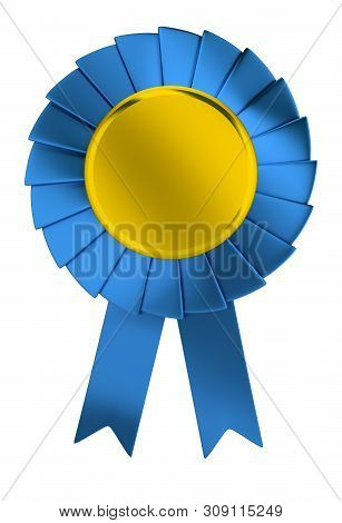 3d Blue Prize Ribbon With Gold Center. 3d Image. Isolated White Background.