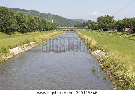 Pirot, Serbia - June 15, 2019: River Nishava, Passing Through The Town Of Pirot, Southern And Easter